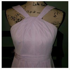 New David's Bridal Y Neck Chiffon Bridesmaid Dress